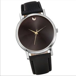 Faux diamond black face watch